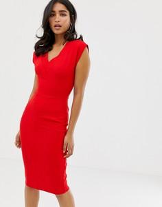 Облегающее платье с V-образным вырезом Closet - Красный