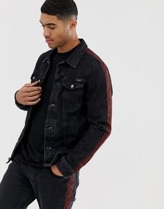 Выбеленная черная джинсовая куртка с леопардовым принтом Pull&Bear - Черный
