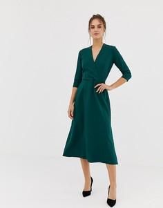 Зеленое платье с запахом и рукавами 3/4 Closet - Зеленый