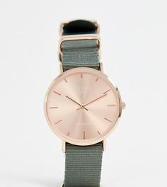 Часы с зеленым парусиновым ремешком Reclaimed Vintage Inspired 36 мм эксклюзивно для ASOS - Серый