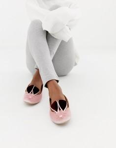 Розовые бархатные слиперы в форме зайчиков Ted Baker - Розовый