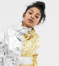 Серебристый дождевик с золотистой вставкой и эффектом металлик Nike - Серебряный