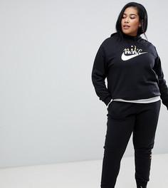 Черные спортивные штаны с логотипом металлик Nike Plus - Черный