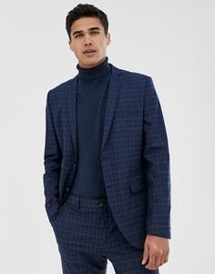 Синий приталенный пиджак в клетку Jack & Jones Premium - Синий