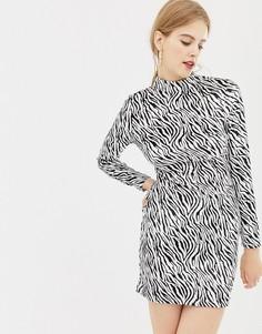 Бархатное платье с принтом зебры и высоким воротником Parisian - Черный