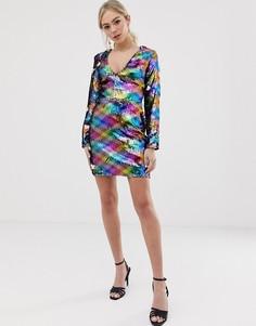 Разноцветное платье с V-образным вырезом и пайетками Parisian - Мульти