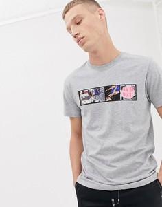 Серая узкая футболка с надписью Never Quit PS Paul Smith - Серый
