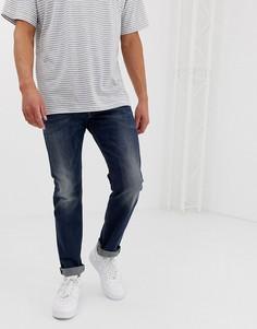 Темно-выбеленные узкие джинсы Diesel Belther - Синий