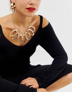Золотистое броское ожерелье с коваными кольцами ASOS DESIGN - Золотой