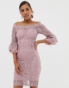 Платье со спущенными плечами Paper Dolls - Серый