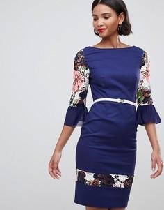 Платье с цветочным принтом Paper Dolls - Темно-синий