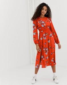 Платье миди с присборенной талией, цветочным принтом и разрезами по бокам Nobodys Child - Красный
