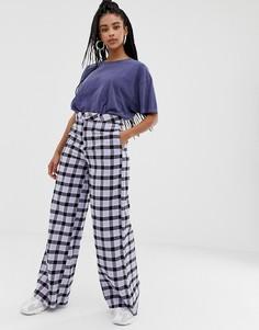 Широкие брюки в клетку пастельного цвета Daisy Street - Фиолетовый