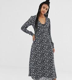 Чайное платье миди с цветочным принтом Daisy Street - Темно-синий