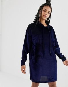 Вельветовое бархатное платье-худи Daisy Street - Темно-синий