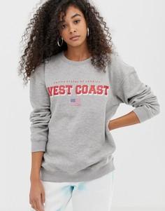 Свитшот бойфренда с принтом west coast Daisy Street - Серый