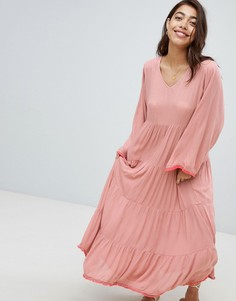 Пляжное платье макси с ярусной юбкой Anmol Maxi - Розовый