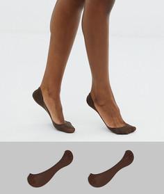 2 пары невидимых носков ASOS DESIGN - Коричневый