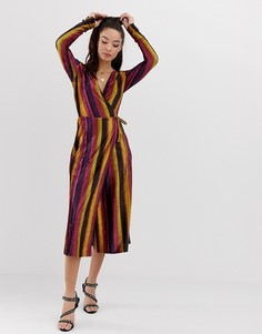 Бархатное платье миди в полоску с запахом ASOS DESIGN - Мульти