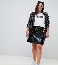 Лакированная юбка с молнией Zizzi - Черный