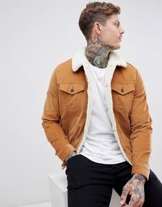 Светло-коричневая вельветовая куртка с подкладкой из искусственного меха boohooMAN - Рыжий