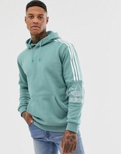 Зеленый худи с 3 полосками на плечах adidas Originals - Зеленый