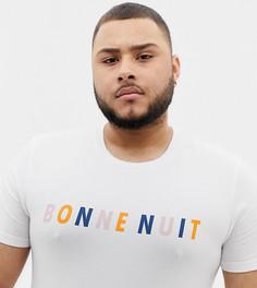 Обтягивающая футболка с надписью на французском ASOS DESIGN Plus - Белый