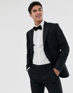 Жаккардовый приталенный пиджак-смокинг премиум-класса с принтом пейсли Jack & Jones - Черный