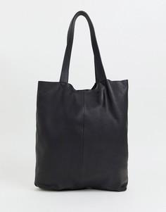 Черная кожаная сумка-тоут ASOS DESIGN - Черный