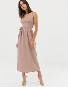 Шифоновое платье макси на бретельках Love - Кремовый