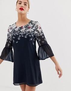 Свободное платье с рукавами клеш и принтом бабочек Yumi - Темно-синий