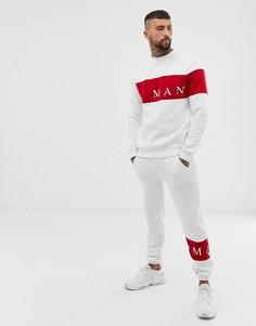 Белый спортивный костюм с принтом boohooMAN - Белый