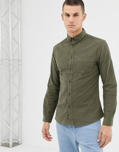 Зеленая зауженная рубашка с длинными рукавами и карманом Celio - Зеленый