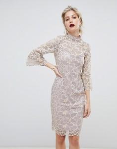 Мягкое кружевное платье с высоким воротом Paper Dolls - Розовый