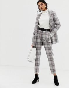 Укороченные брюки в клетку Selected Mika - Серый