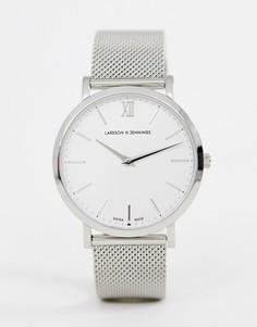 Серебристые часы с сетчатым браслетом Larsson & Jennings Lugano - 40 мм - Серебряный