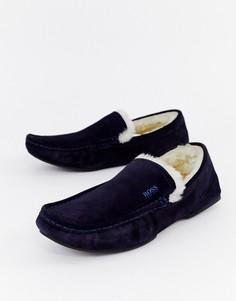 Темно-синие замшевые слиперы с искусственной цигейкой BOSS Relax - Темно-синий