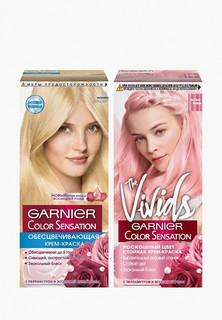 """Краска для волос Garnier """"Color Sensation, Роскошь цвета"""": оттенок E0, Ультра блонд + The Vivids, Пастельно-розовый"""