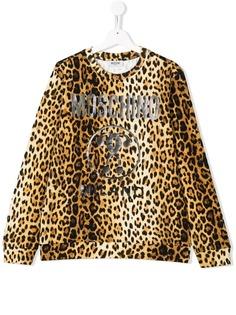 Moschino Kids толстовка с принтом леопарда