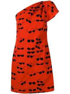 Victoria Victoria Beckham платье мини на одно плечо с принтом солнцезащитных очков