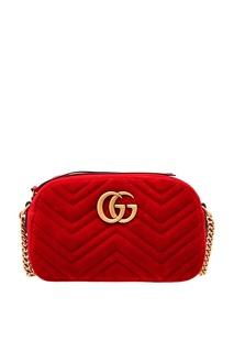 Красная сумка GG Marmont из стеганого бархата Gucci