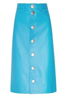 Голубая кожаная юбка миди Balenciaga