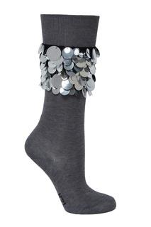 Серые носки с блестящей отделкой No21
