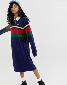 Платье регби в полоску колор блок с логотипом на груди Stussy - Темно-синий