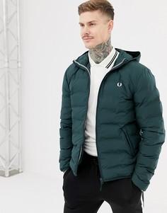 Зеленая дутая куртка с капюшоном Fred Perry - Зеленый