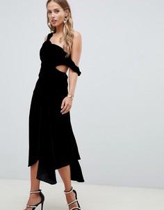 Бархатное платье миди с драпировкой ASOS DESIGN - Черный