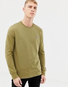 Топ цвета хаки с длинными рукавами и круглым вырезом PS Paul Smith - Зеленый