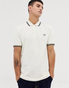 Кремовая футболка-поло с контрастной отделкой Fred Perry - Белый