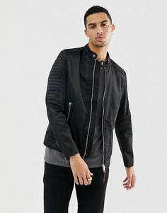 Черная байкерская куртка из нейлона Diesel J-Shiro - Черный