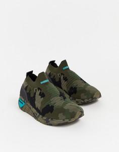 Трикотажные кроссовки с камуфляжным принтом Diesel - Зеленый